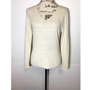 Massimo Dutti Ribbed Top Sheer Wool Silk Blend